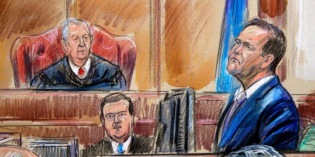 Rick Gates, seen in this courtroom sketch on the witness stand, testified that he embezzled hundreds of thousands of dollars from Paul Manafort when he was working with him.