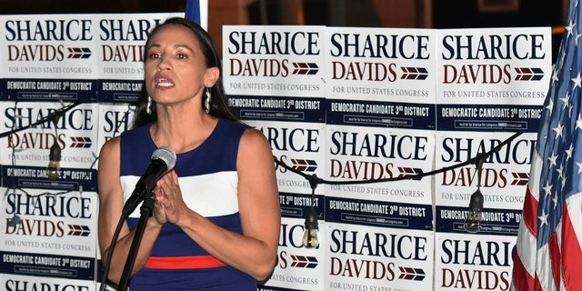 Sharice Davids addresses her supporters at Breit's Stein and Deli in Kansas City.