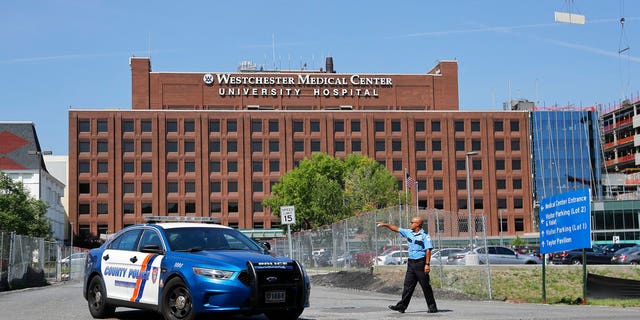 A Westchester Medical Center security guard directs traffic as a Westchester County police car pulls out of the drive to the main entrance of the hospital, Wednesday, Aug. 8, 2018, in Valhalla, N.Y.