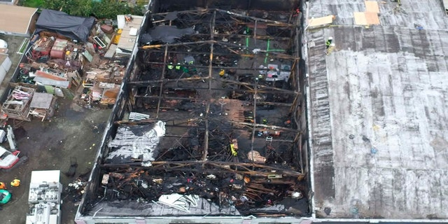 Undated file photo provided by the City of Oakland shows inside the burned warehouse after the deadly fire that broke out on Dec. 2, 2016, in Oakland, Calif.