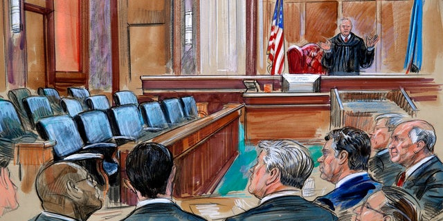 This courtroom sketch depicts U.S. District court Judge T.S. Ellis III speaking to the lawyers and defendant Paul Manafort, fourth from left, in Manafort's trial on bank fraud and tax evasion at federal court in Alexandria, Virginia.