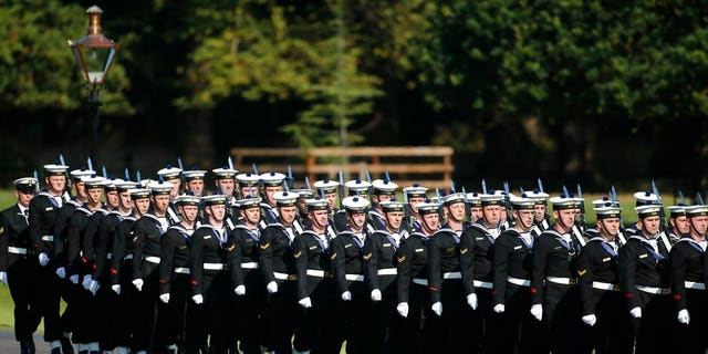 Navy band march prior to the arrival of Pope Francis at the Presidential residence in Dublin, Ireland
