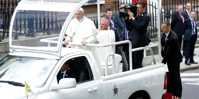 Pope Francis arrives at St Mary's Pro-Cathedral, in Dublin, Ireland