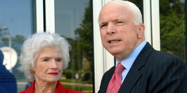 Then-Republican presidential hopeful Sen. John McCain, R-Ariz., talks to reporters after appearing on a television program with his mother, Roberta McCain, left, in Washington, May 13, 2007.