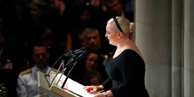 In this Sep. 1, 2018 photo, Meghan McCain speaks at a memorial service for her father, Sen. John McCain, R-Ariz., at Washington National Cathedral in Washington.