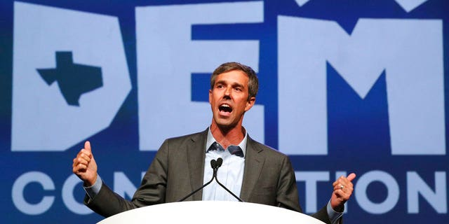 FILE: Beto O'Rourke speaks during the general session at the Texas Democratic Convention in Fort Worth, Texas.