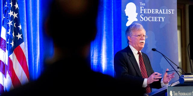 National security adviser John Bolton speaking at the Federalist Society luncheon on Monday in Washington, D.C.