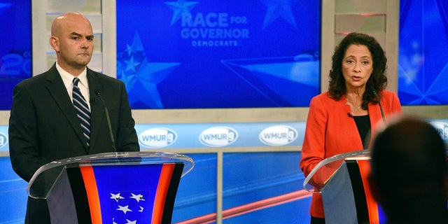Former Portsmouth Mayor Steve Marchand (left) and former state Sen. Molly Kelly face off the in Tuesday, Sept. 11 primary for the chance to take on Republican Gov. Chris Sununu in the November general election.