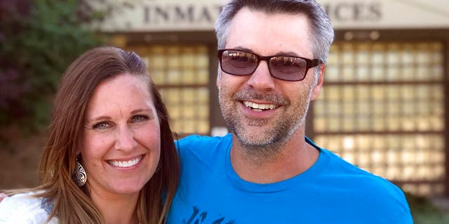 Josh Horner with his wife Kelli Horner after his release from the Deschutes County Jail in Bend, Ore.