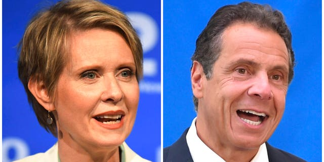 FILE: New York gubernatorial candidate Cynthia Nixon, left, speaks during a Democratic primary debate in Hempstead, N.Y., and Gov. Andrew Cuomo speaks at a press conference in New York.
