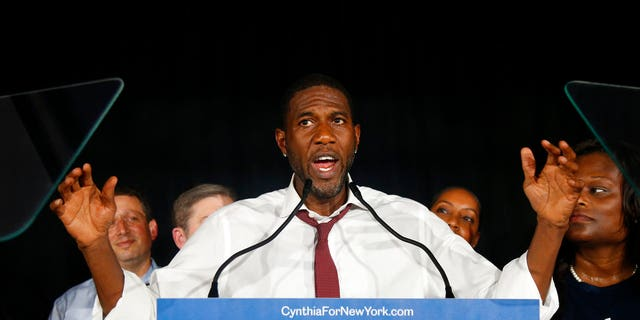 Candidate for Lt. Governor Jumaane Williams delivers his concession speech at the Working Families Party primary night party.