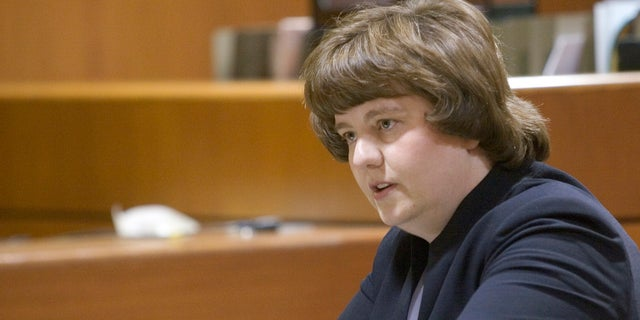 In this Oct. 27, 2004 photo Rachel Mitchell makes an opening statement in the trial of Karl LeClaire at court in Mesa, Ariz.