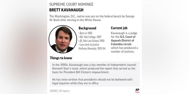 Judge Brett Kavanaugh was appointed to the federal bench by former President George W. Bush.