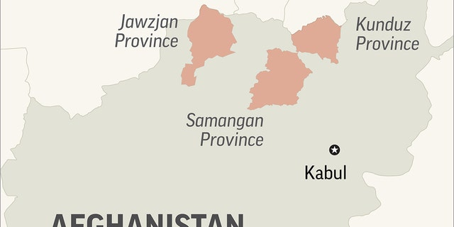 Map locates Kunduz and Samangan provinces in Afghanistan, where Taliban attacks killed at least 35 people; 1c x 2 1/2 inches; 46.5 mm x 63 mm;
