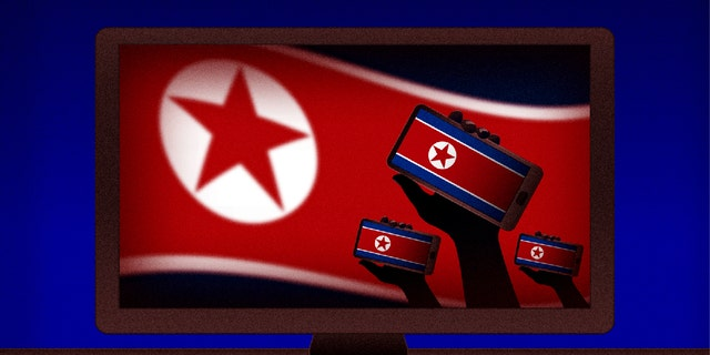 North Korea flag with stars on the left of the cellphones.