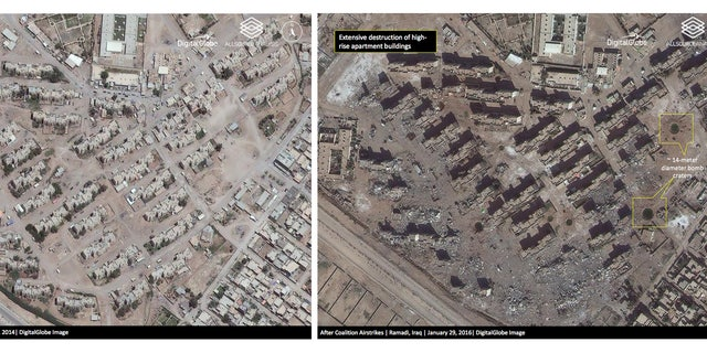 This combination of two satellite photos provided by DigitalGlobe and analyzed by Allsource Analysis shows a high-rise apartment complex in Ramadi in June 2014, before ISIS took the city, and in January 2016, after coalition airstrikes and heavy fighting.