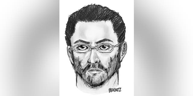 This undated sketch shows a suspect believed to have shot the leader of a mosque and a friend in New York.