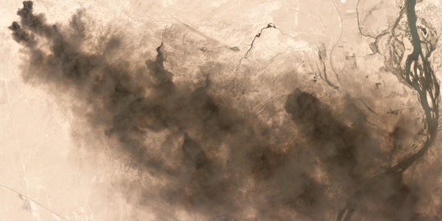 Burning oil fields seen near Qayyarah, Iraq, in this Sept. 4 image.