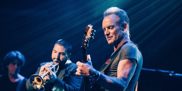 Sting performs on stage at the Bataclan concert hall Saturday.