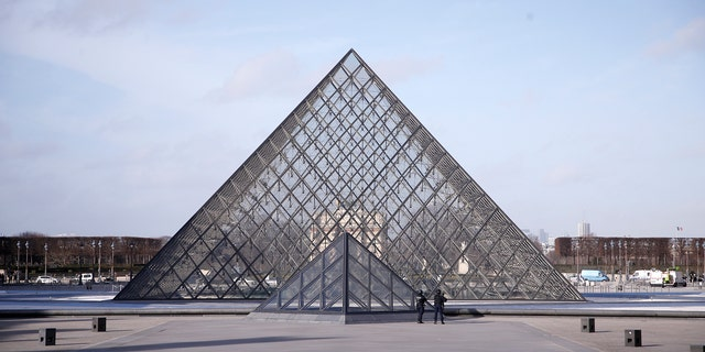 The Louvre pyramid protected by Paris police in February 2017. (AP Photo/Thibault Camus)