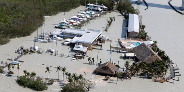 Floodwaters surround Gilbert's Resort in Key Largo, Florida.