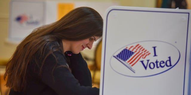 Danica Roem casting her vote at Buckhall Volunteer Fire Department in Manassas, Virginia.