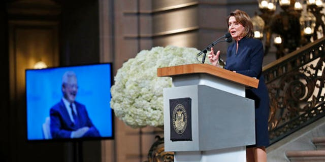 House Minority Leader Nancy Pelosi speaking during the service celebrating the life of Mayor Ed Lee at San Francisco City Hall.