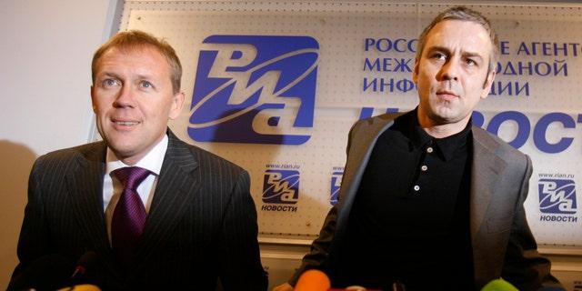 Andrei Lugovoi, left, and Dmitry Kovtun in 2007.