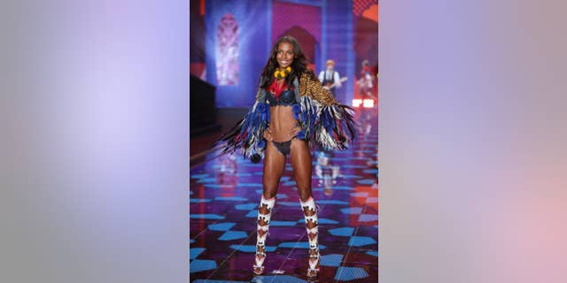 Model Jasmine Tookes displays a creation at the Victoria's Secret fashion show in London.