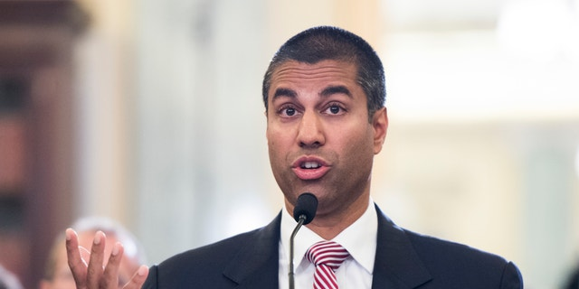 Ajit Pai, Commissioner, Federal Communications Commission, testifies during the Senate Commerce, Science, and Transportation Committee hearing on Oversight of the Federal Communications Commission
