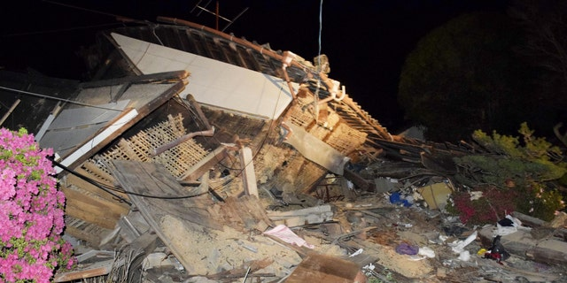A collapsed home in Mashiki, southern Japan.