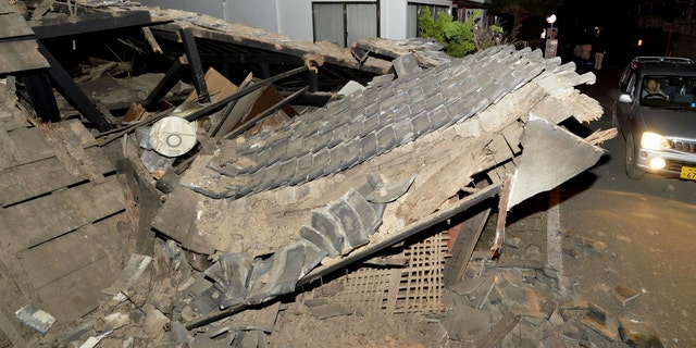 A collapsed roof in Mashiki, southern Japan.