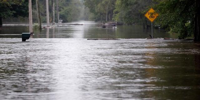 Flood waters in Evansdale, Iowa over the weekend.