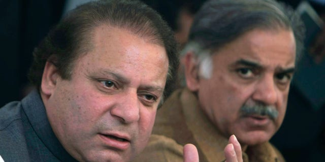 Pakistan's Prime Minister Nawaz Sharif, left, shown with his brother, Shahbaz Sharif, has pledged to protect religious minorities.