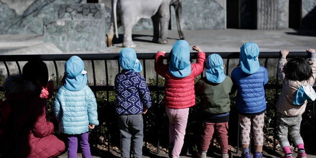 """In this Jan. 27, 2016 photo, children look at Hanako the elephant at Inokashira Park Zoo on the outskirts of Tokyo. An online petition drive wants the 69-year-old Hanako, or """"flower child,"""" to be moved to a Thai sanctuary, to live in a natural, grassy habitat where elephants romp in herds, not alone in her concrete pen, with a wading pool she hardly uses and a nearby side building to spend the night. It's attracted tens of thousands of signatures already, with the aim of submitting them to the suburban Tokyo zoo and the Japanese government. (AP Photo/Eugene Hoshiko)"""