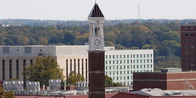 The campus clock tower of Purdue University.