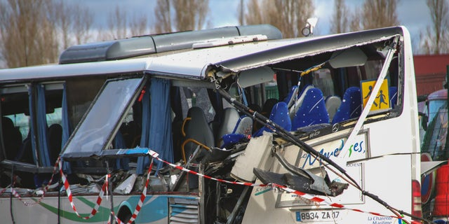 Six teenagers have been killed in a collision involving a school bus in the centre of the town of Rochefort in Charente-Maritime, France at 07:15 on February 11, 2016. Photo by Pauline Watrin/Sipa USA