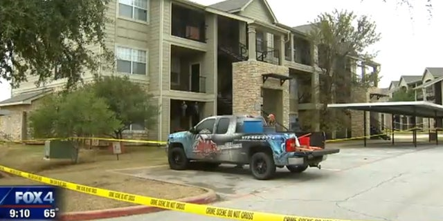 The apartment complex in Denton, Texas is sealed off after a floor collapsed at a college party.