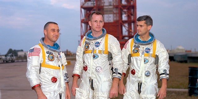 """Virgil """"Gus"""" Grissom, left, Ed White and Roger Chaffee stand for a photograph in Florida."""