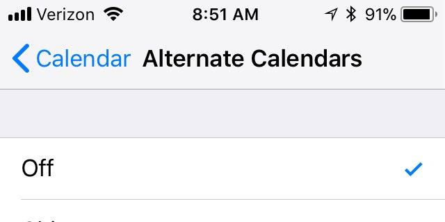 Chinese, Hebrew and Islamic are offered as alternate iCal calendar options in Apple's iOS 11.2.5 (Credit: Fox News, iOS 11.2.5)