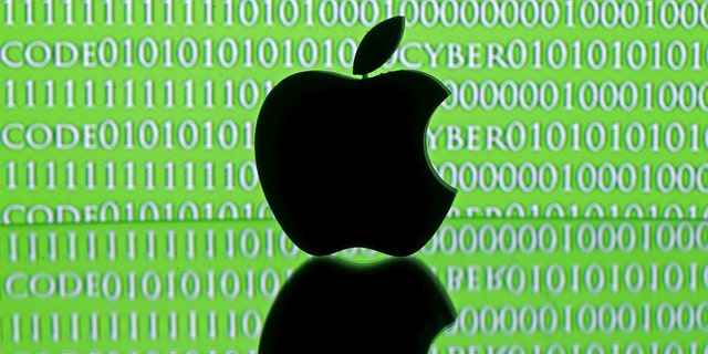 A 3D printed Apple logo is seen in front of a displayed cyber code in this illustration taken Feb. 26, 2016. (REUTERS/Dado Ruvic/Illustration)