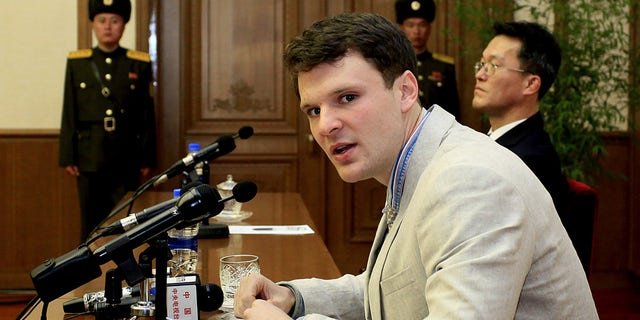 American student Otto Warmbier speaks as Warmbier is presented to reporters Monday, Feb. 29, 2016, in Pyongyang, North Korea.