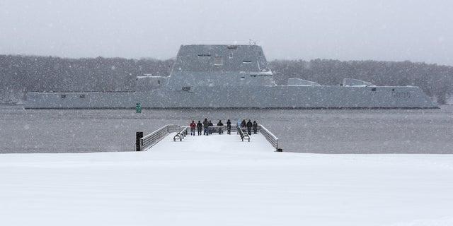 The USS Zumwalt makes its way down the Kennebec River.