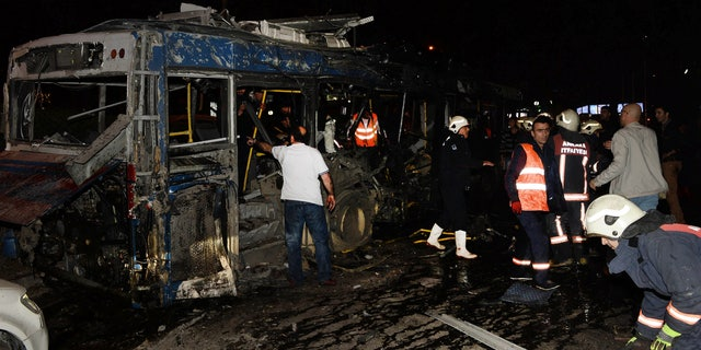 The aftermath of an explosion in Ankara that occurred near a bus stop.