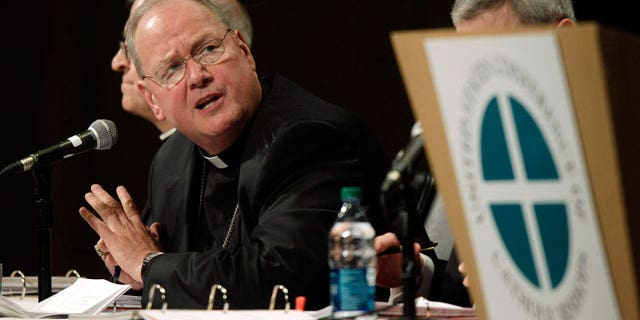 Archbishop Timothy Dolan, of New York, president of the United States Conference of Catholic Bishops, speaks, Wednesday, June 15, 2011, in Bellevue, Wash. (AP)