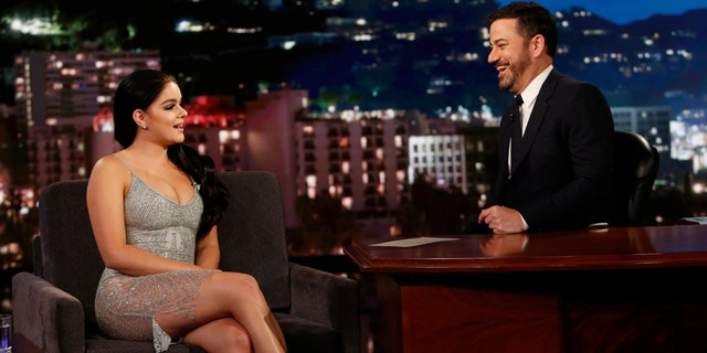 "Ariel Winter (left) chats with Jimmy Kimmel on his late night show ""Jimmy Kimmel Live,"" May 10, 2017."