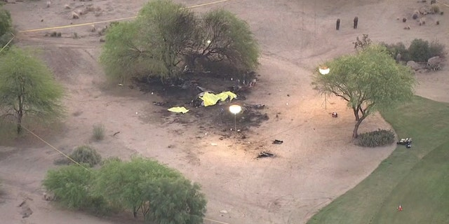 The plane crashed at a golf course outside of Phoenix, but there were no reports of injuries to people on the ground.