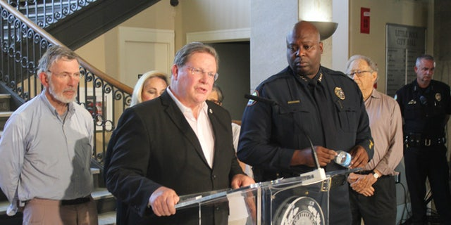 Little Rock Mayor Mark Stodola speaks at a news conference next to Police Chief Kenton Buckner in Little Rock, Ark. on Saturday, July 1, 2017 about an early morning shooting at a night club that left at least 28 people injured. (AP Photo/Andrew DeMillo)