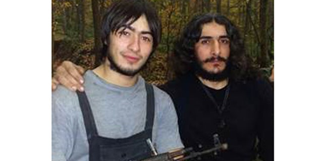 This photo, provided by MEMRI, shows Armiev Artur, left, one of the ISIS members the female Russian spy helped to kill, according to the terror network.