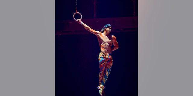 This Sept. 24, 2017 shows Yann Arnaud during a Cirque du Soleil performance in Toronto.